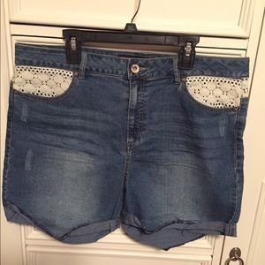 Cato's Denim Shorts with lace - Size 14